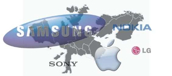 Marktanteile Westeuropa: Samsung, Apple, Nokia, Sony, LG