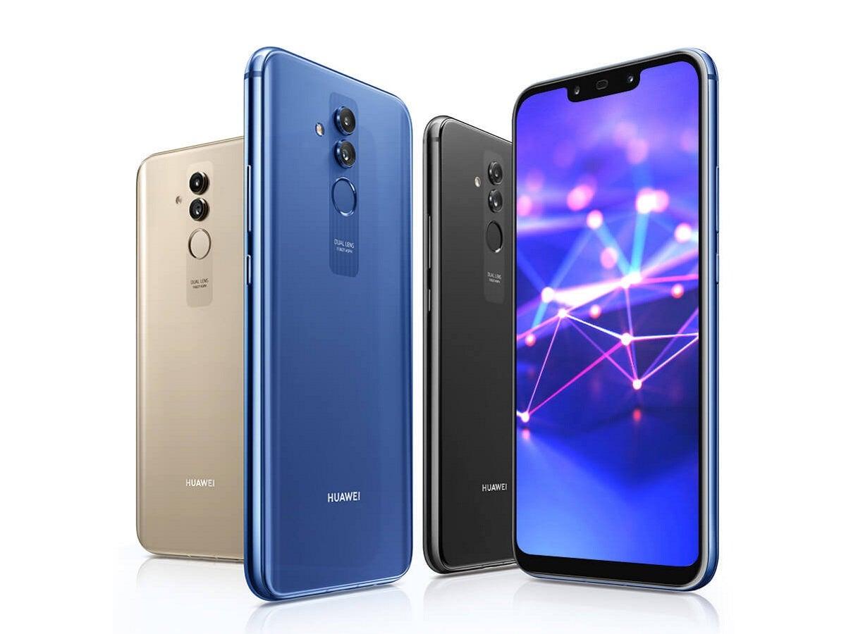 Das Huawei Mate 20 Lite in den Farben Blau, Schwarz und Gold.