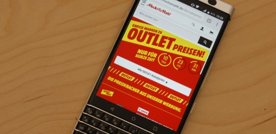 Media Markt Outlet auf dem Blackberry KEYone