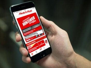 Media Markts Online Shop auf einem Handy