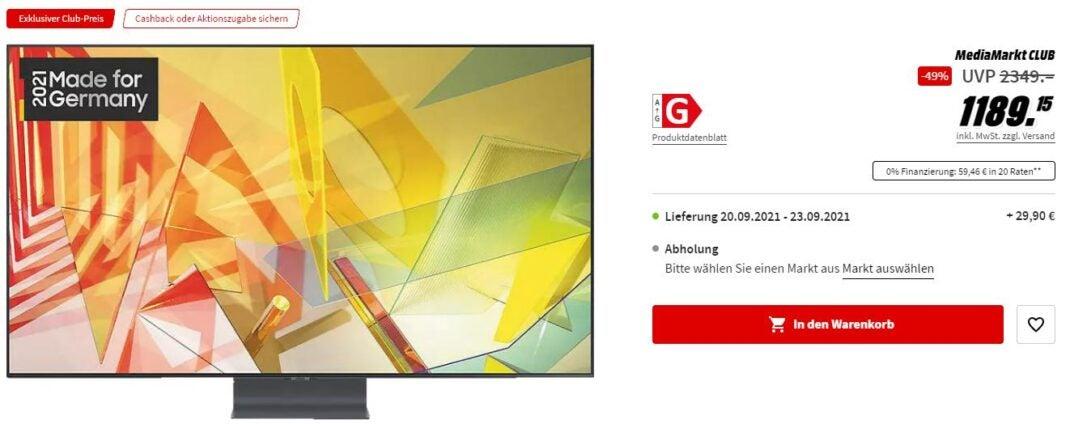 Screenshot des MediaMarkt-Angebots mit Samsung QLED Fernseher