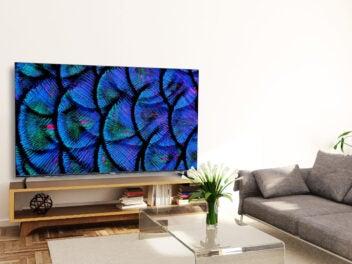 Der Smart TV Medion X17882 in ein Wohnzimmer integriert