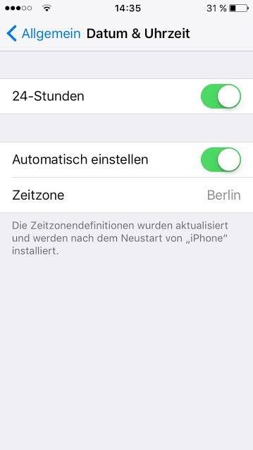 """Menü """"Datum & Uhrzeit"""" bei iOS"""