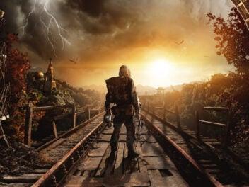 Ein Mann steht am Ausgang der Metro.