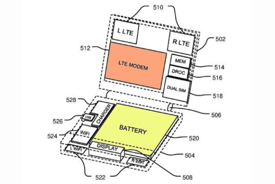 Patent-Grafik eines klappbaren Surface Phones