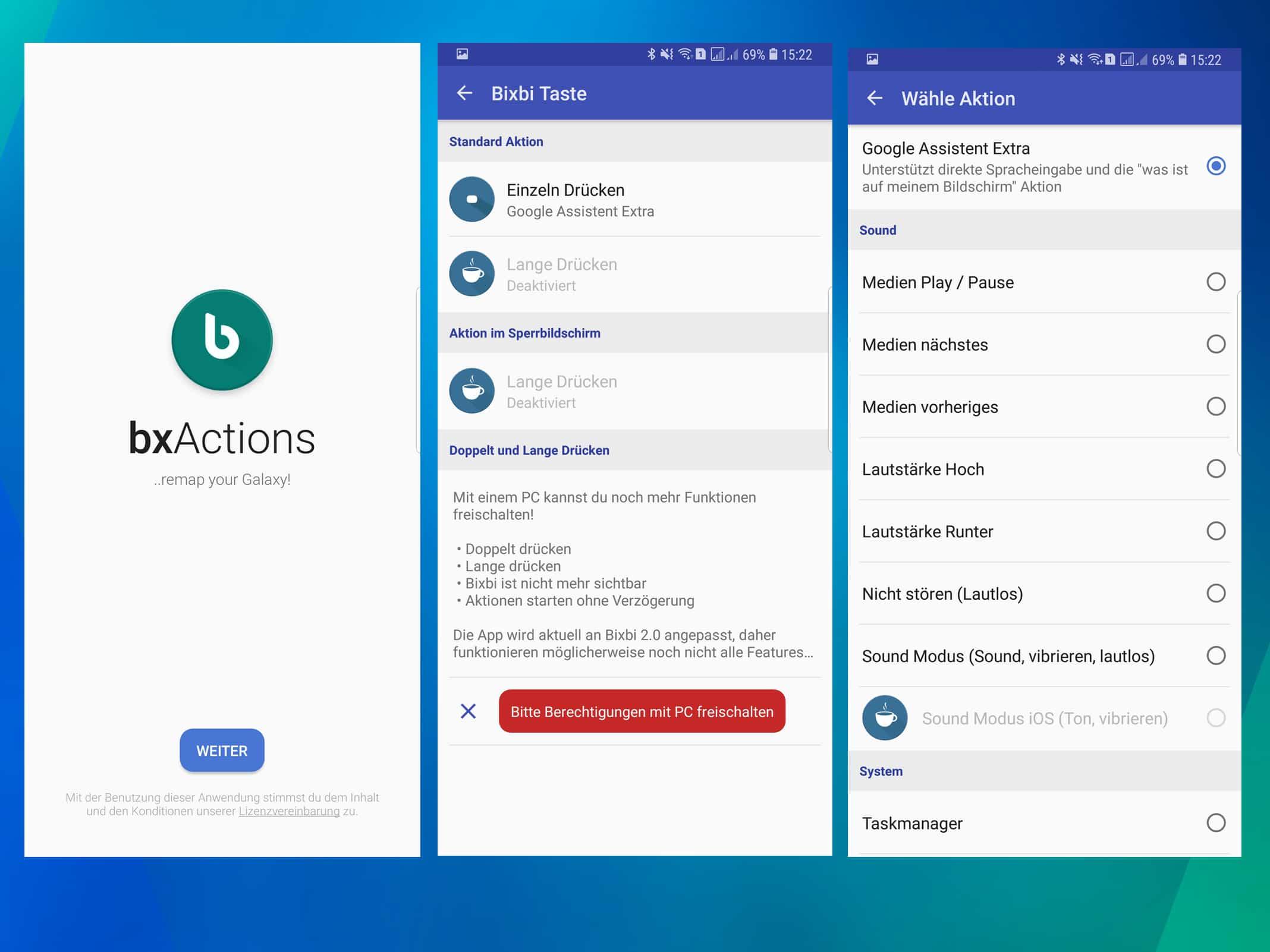 Screenshots der Bixby-Veränderungs-App bxActions