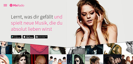 Screenshot der MixRadio-Homepage