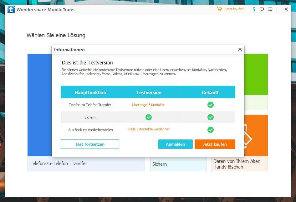 Mobiletrans-Software von Wondershare