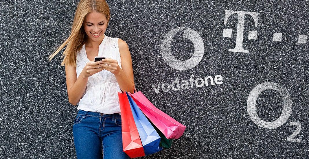 Mobilfunk-Marken O2 Telekom und Vodafone