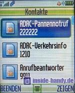 Motorola E550 - Display Kontakte