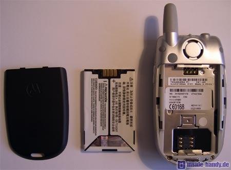 Motorola E550 - Rückseite ohne Akku