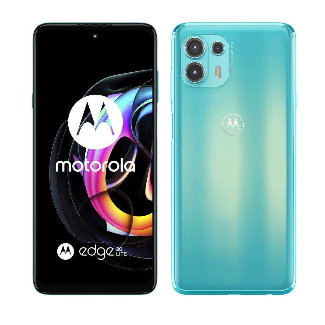 Das Motorola Edge 20 Lite in Türkis von vorne und hinten.