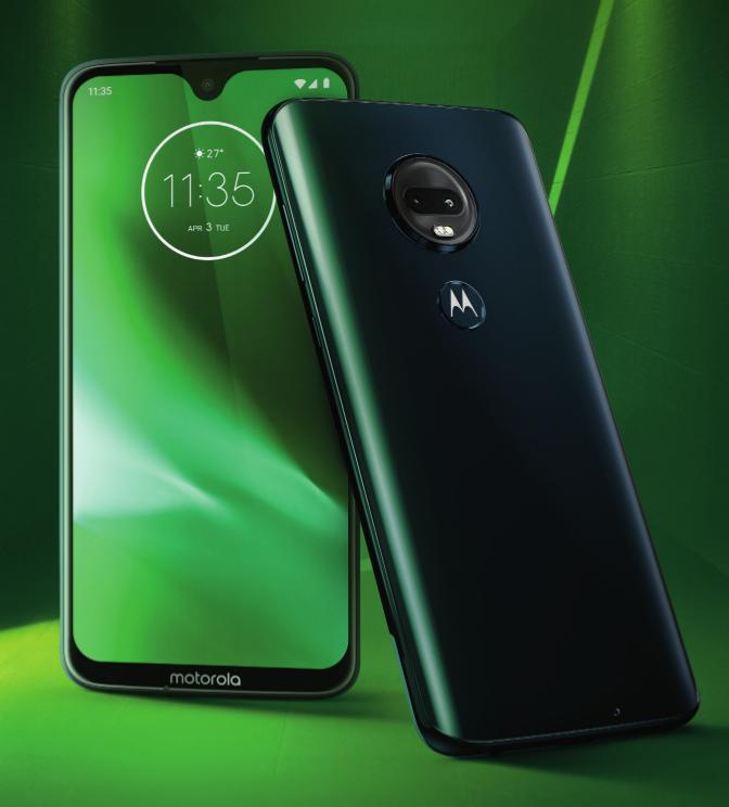 Motorola Moto G7 Plus mit Tropfen-Notch für grünem Hintergrund