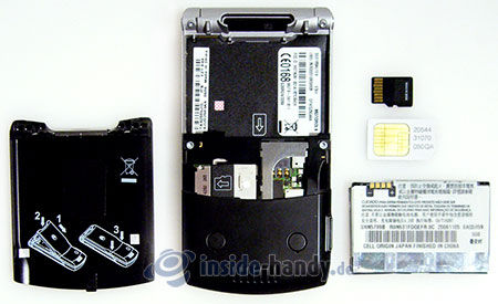Motorola V3xx: zerlegt in Bestandteile