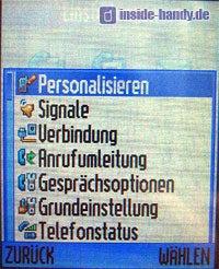 Motorola V80 - Untermenü