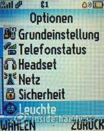 Motorola W375: Optionen