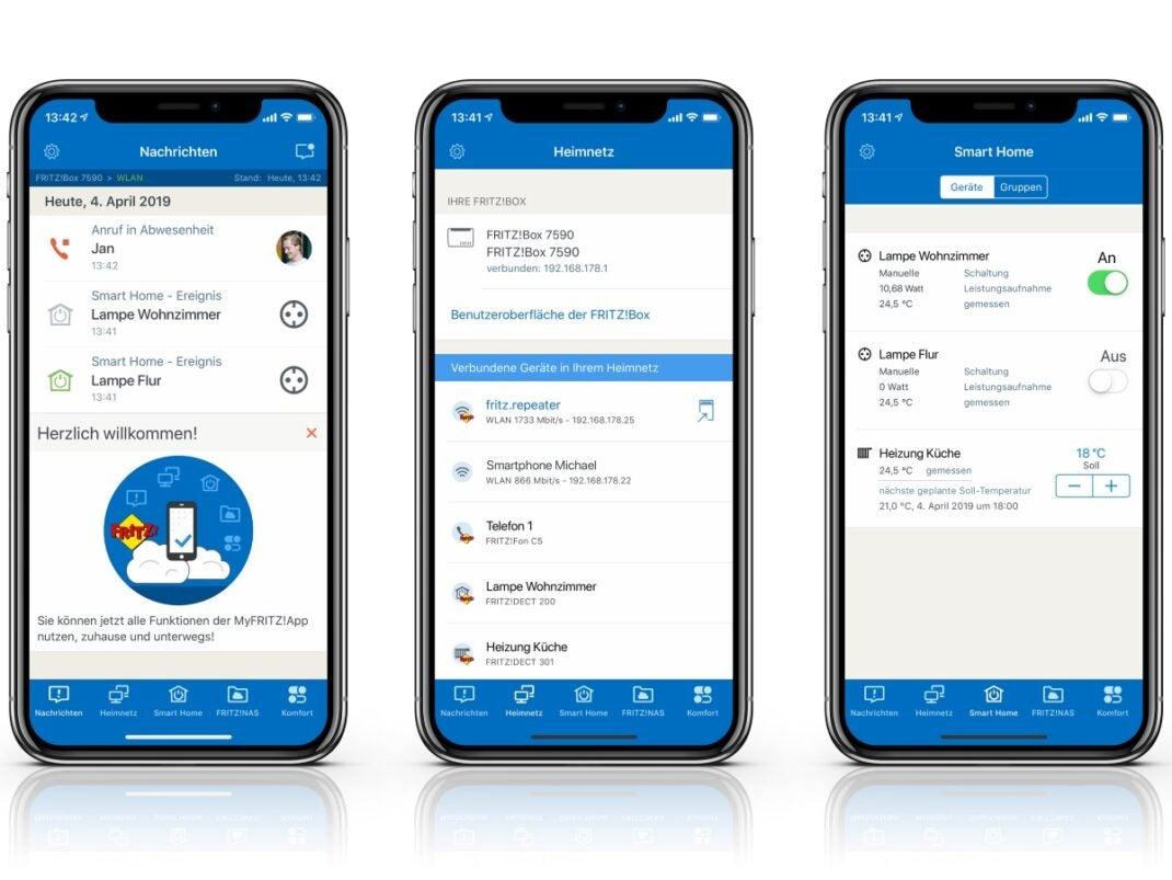Screenshots der MyFritz-App 2 für iOS.
