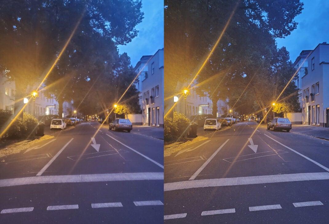 Samsung Galaxy Z Flip Fotos bei Nacht