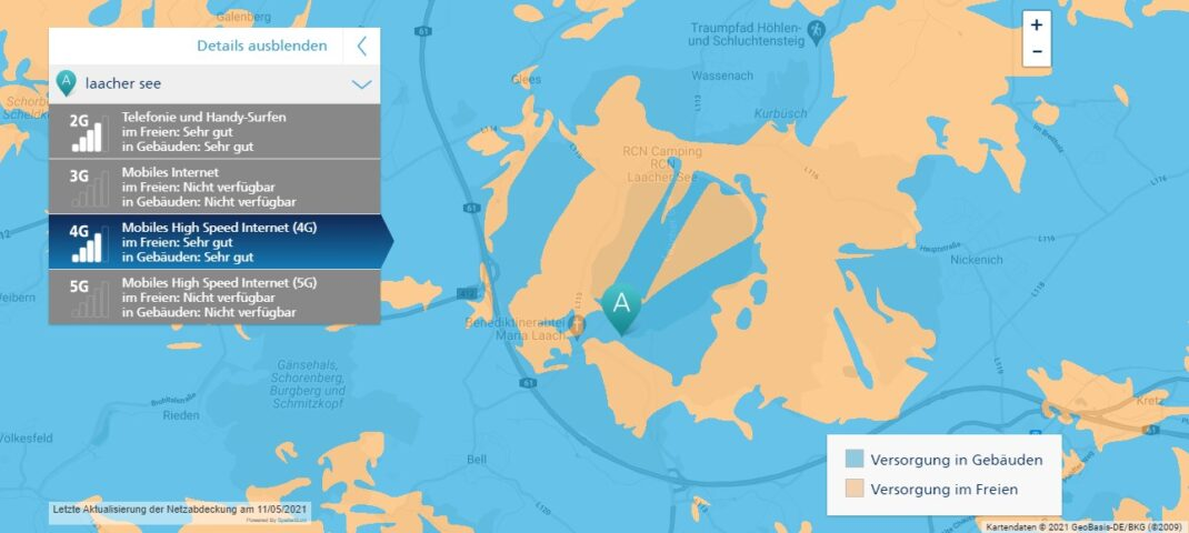 Karte: Netzabdeckung von O2 rund um den Laacher See