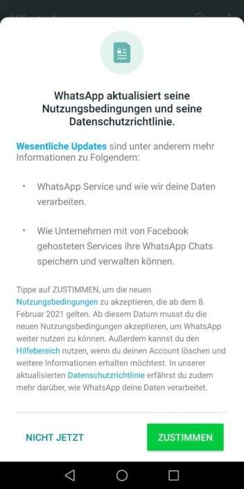 Nutzungsbedingungen WhatsApp ab Februar 2021