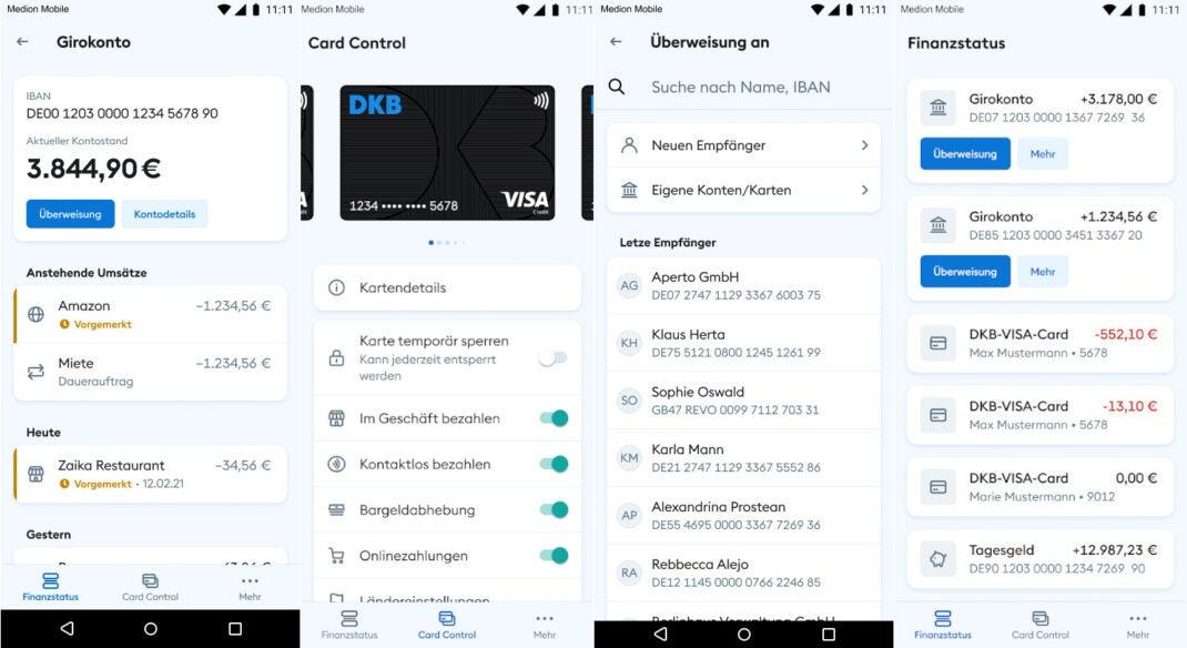 Screenshots zeigen die neue DKB-App