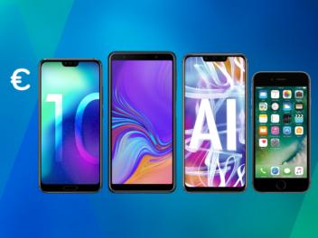 Die vier Smartphones Honor 10, Samsung Galaxy A7 (2018), Huawei Mate 20 Lite und Apple iPhone 6s nebeneinander auf dem Inside Handy Hintergrund.