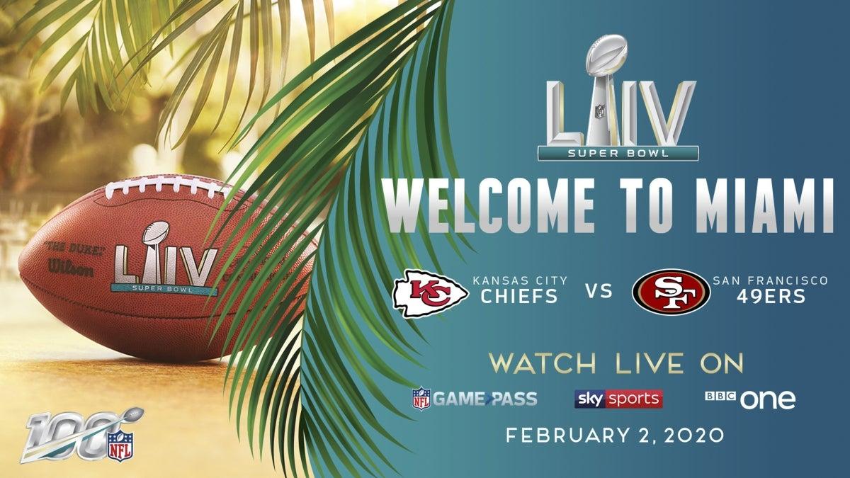 NFL-Info-Tafel zum Super Bowl LIV 2020