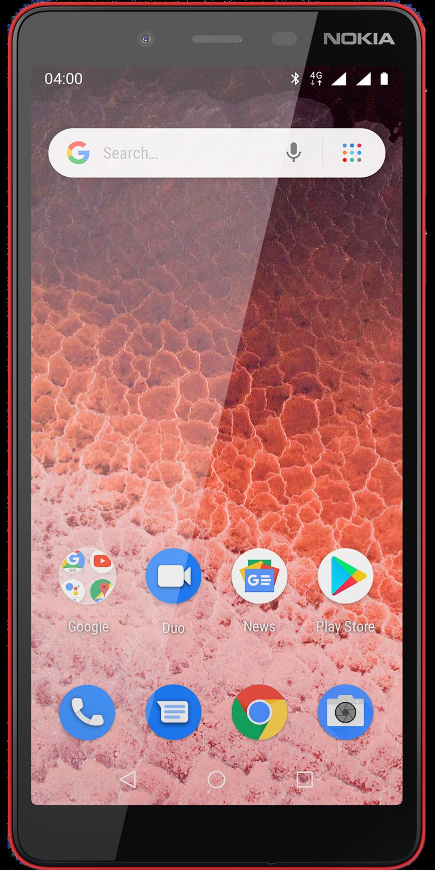 Das Nokia 1 Plus in rot in der schrägen Ansicht.