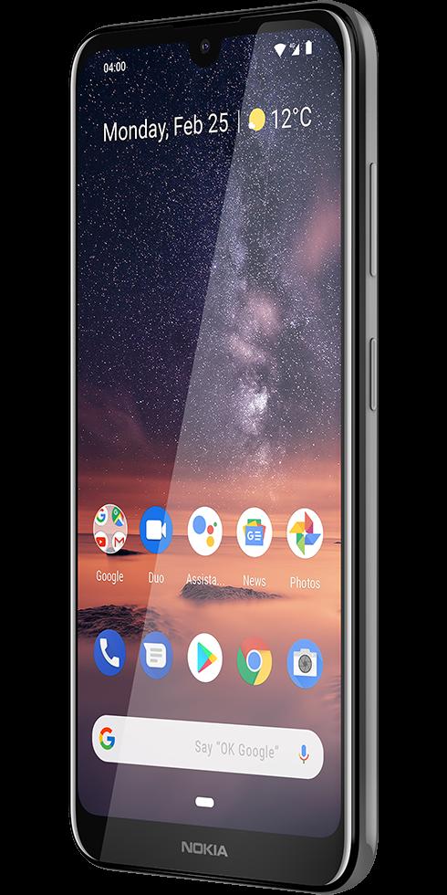 Das Nokia 3.2 in der schrägen Ansicht in schwarz.