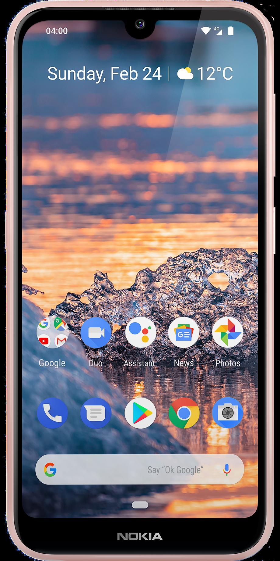 Das Nokia 4.2 in Beige in der Frontalansicht