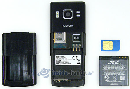 Nokia 6500 Classic: offenes Gerät hinten