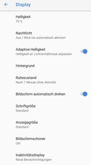 Nokia 7 Plus Display Einstellungen