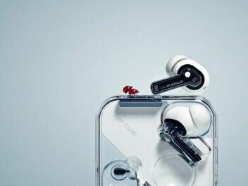 Die Kopfhörer Nothing Ear 1 neben ihrem Case, auf dem ein Marienkäfer sitzt.