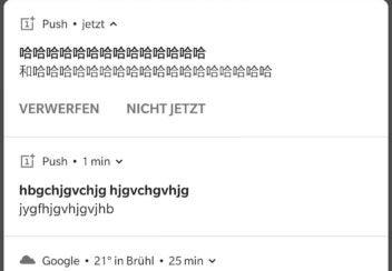 OnePlus 7 Pro Screenshot mit kryptischen Nachrichten