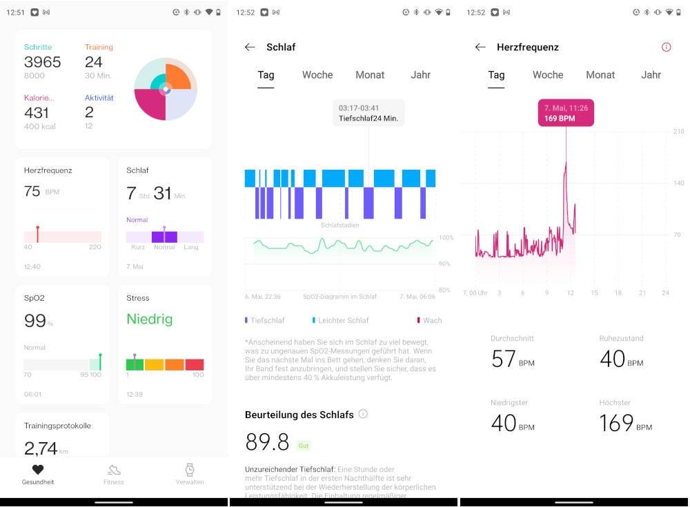 OnePlus Health App Screenshots