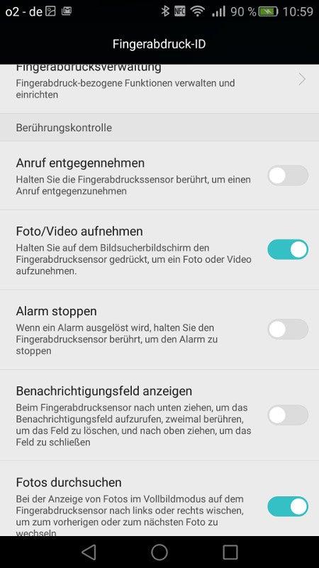 Optionen Fingerabdruckscanner Mate S