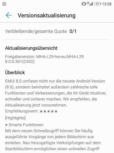 Oreo-Update: Huawei Mate 9