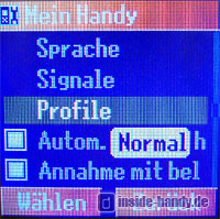 Panasonic X300 - Mein Handy Menü