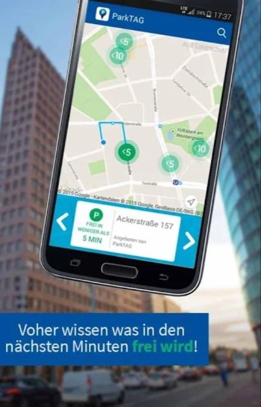 ParkTag, App, Software, Parken, Auto, Parkplatz, Suche