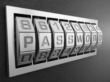 Schriftzug Password auf Drehregler.