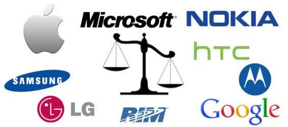 Logos von Mobilfunk-Herstellern um eine Waage
