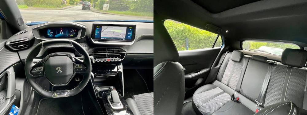 Innenraum des Peugeot e-2008 vorne und hinten.