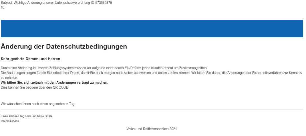 Eine Phishing-Mail im Namen der Volksbank.