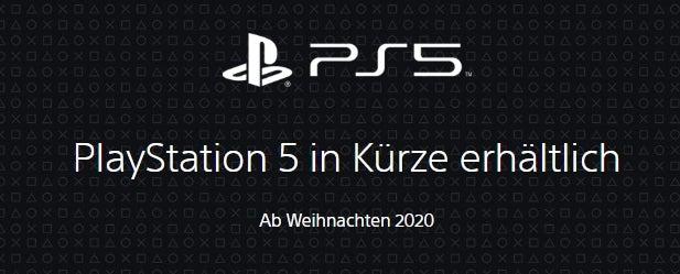 PlayStation 5 Ankündigung auf der Sony-Webseite