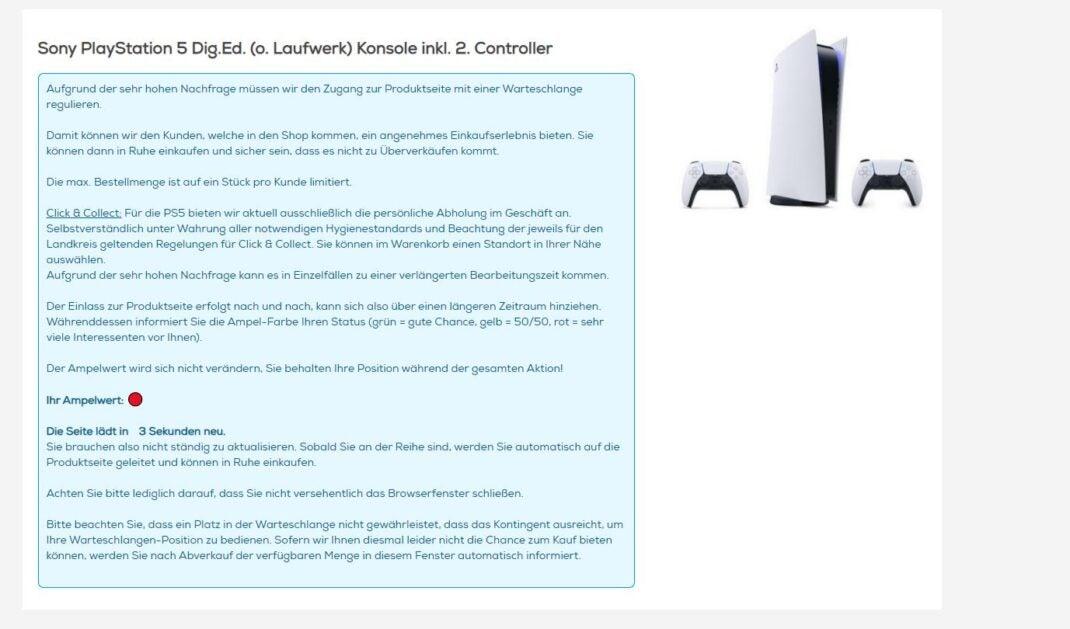 PlayStation 5 waiting page at Euronics
