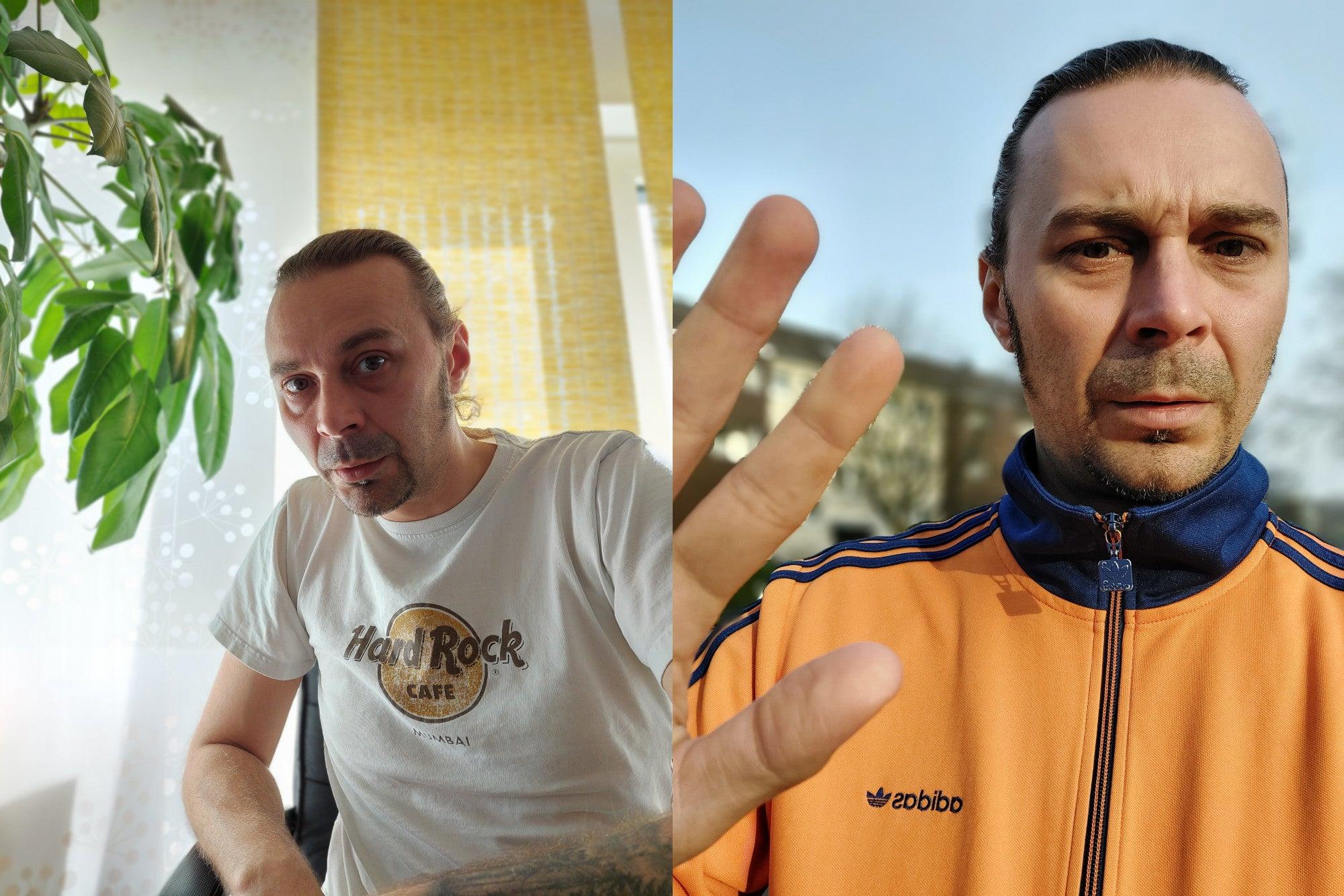 Links Porträt im Porträt-Modus, rechts mit der Selfie-Kamera