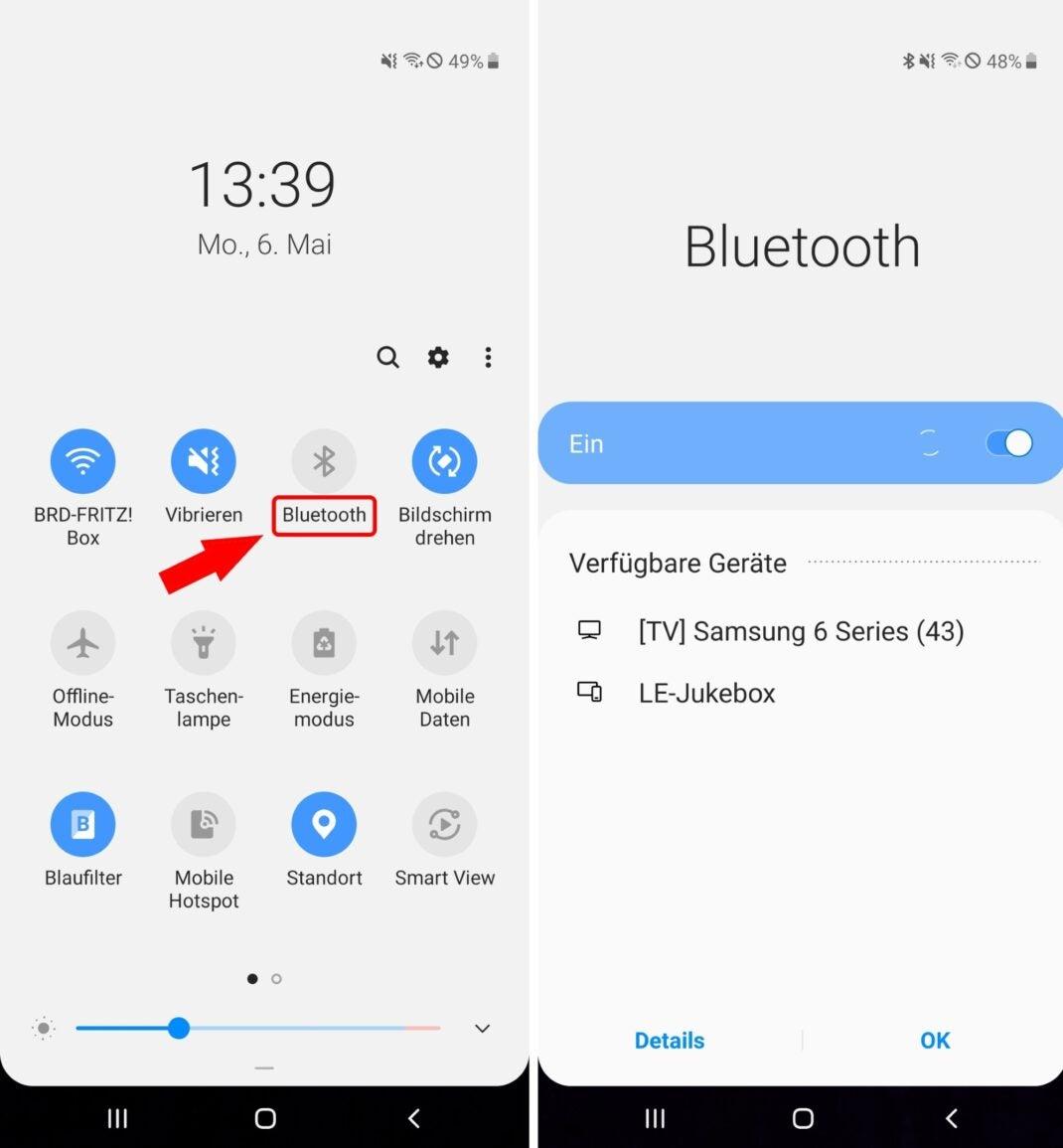 Statusleiste und die Quick Settings beim Galaxy A50.