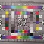 Testchart mit Kreisen, Farbverläufen und Grauabstufungen