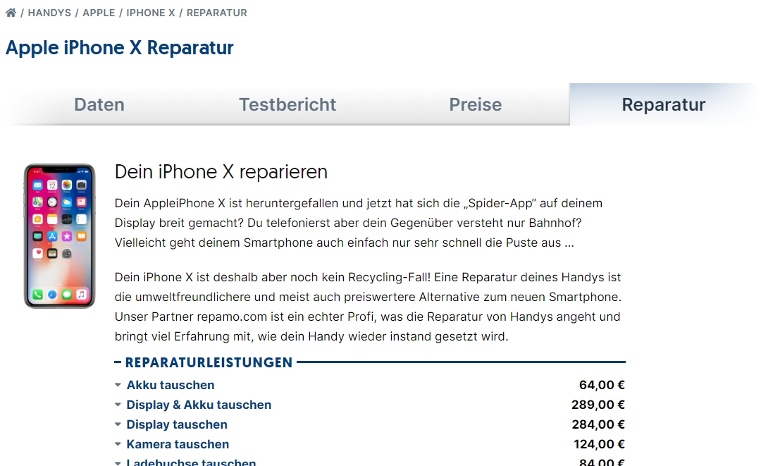 Repamo Reparatur beim iPhone X auf inside digital