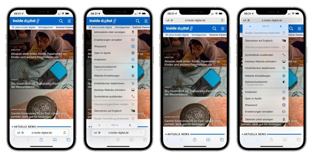 Screenshot von Safari in iOS 15